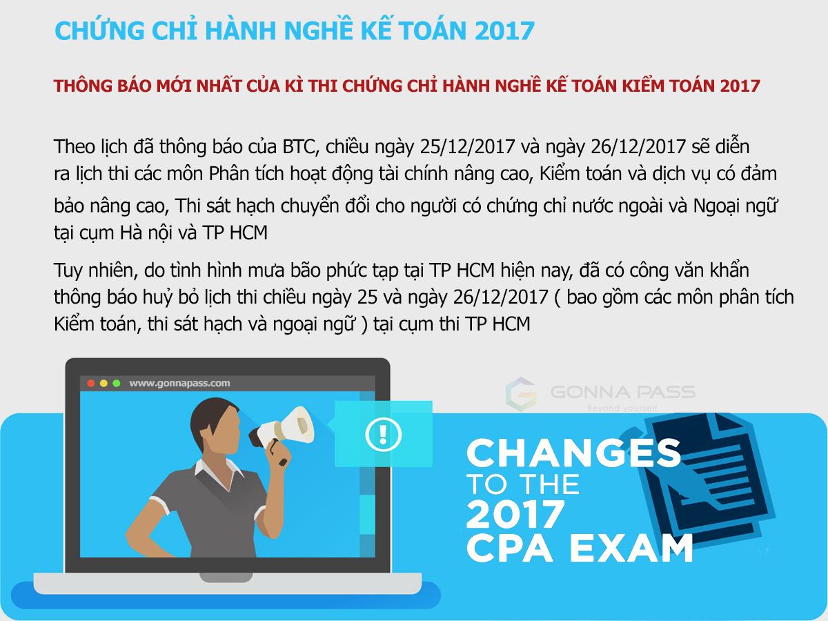 Thông báo dời lịch thi CPA của cụm TP HCM chiều ngày 25/12 và ngày 26/12