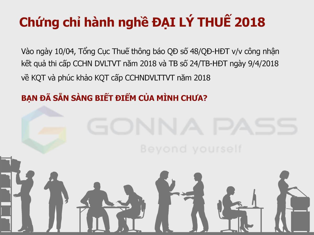 Thông báo chính thức về kết quả kỳ thi và phúc khảo kết quả thi cấp chứng chỉ hành nghề dịch vụ làm thủ tục về thuế năm kì I năm 2018