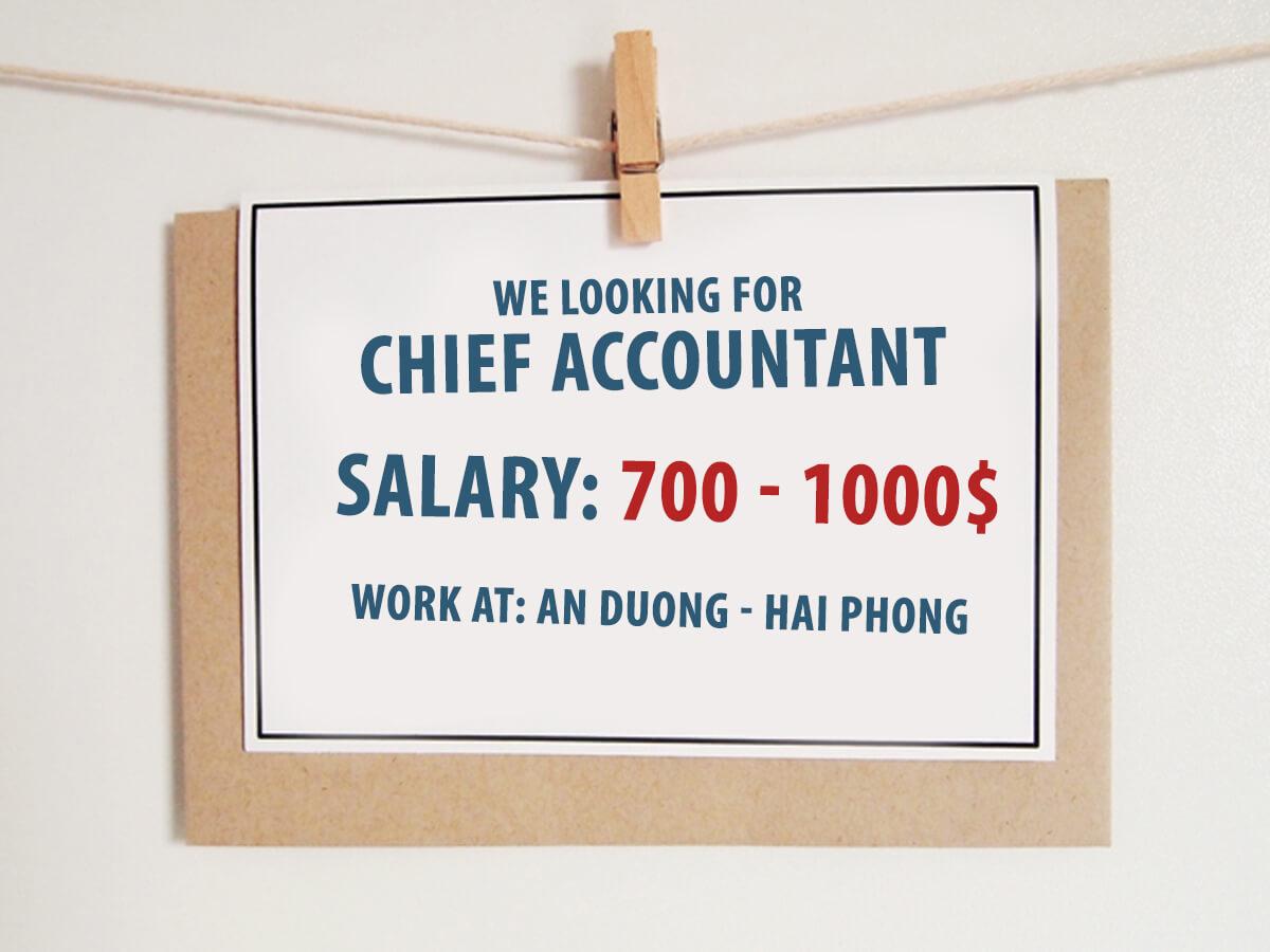 [ Recruitment news ] Chief Accountant in An Duong, Hai Phong