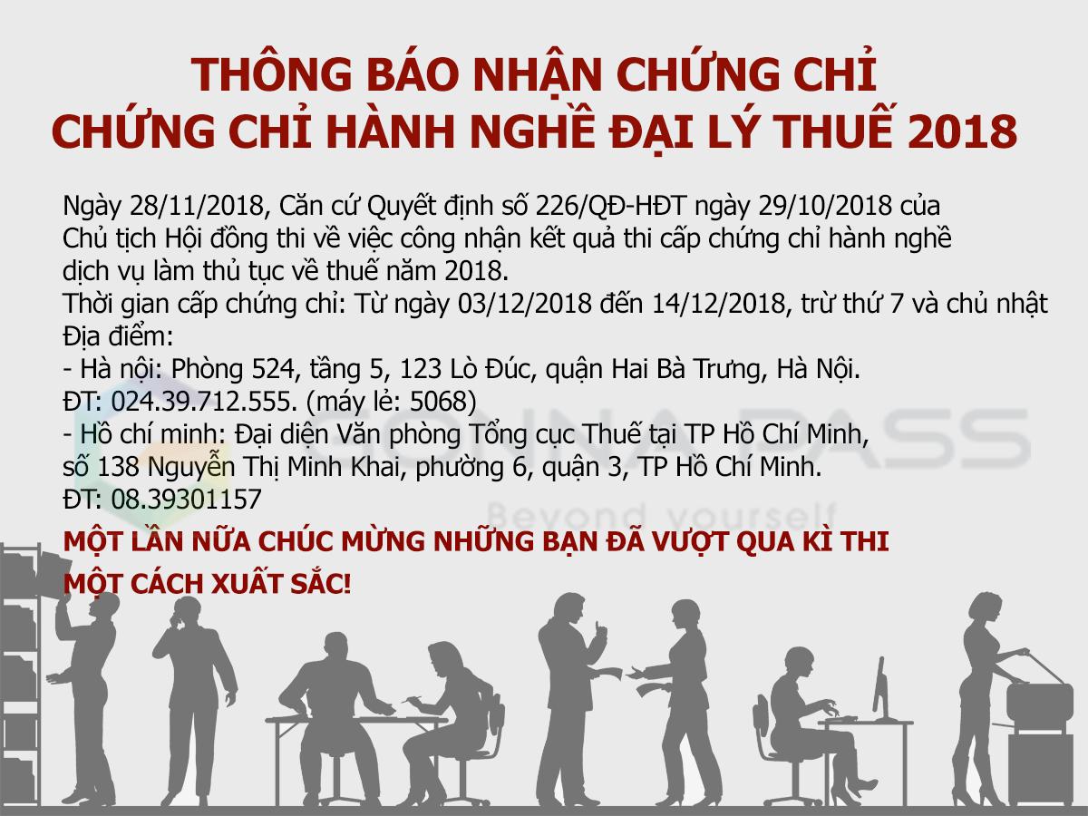 Thông báo về việc cấp CCHN cho các thí sinh đạt kết quả kỳ thi cấp CCHN dịch vụ làm thủ tục về thuế năm 2018