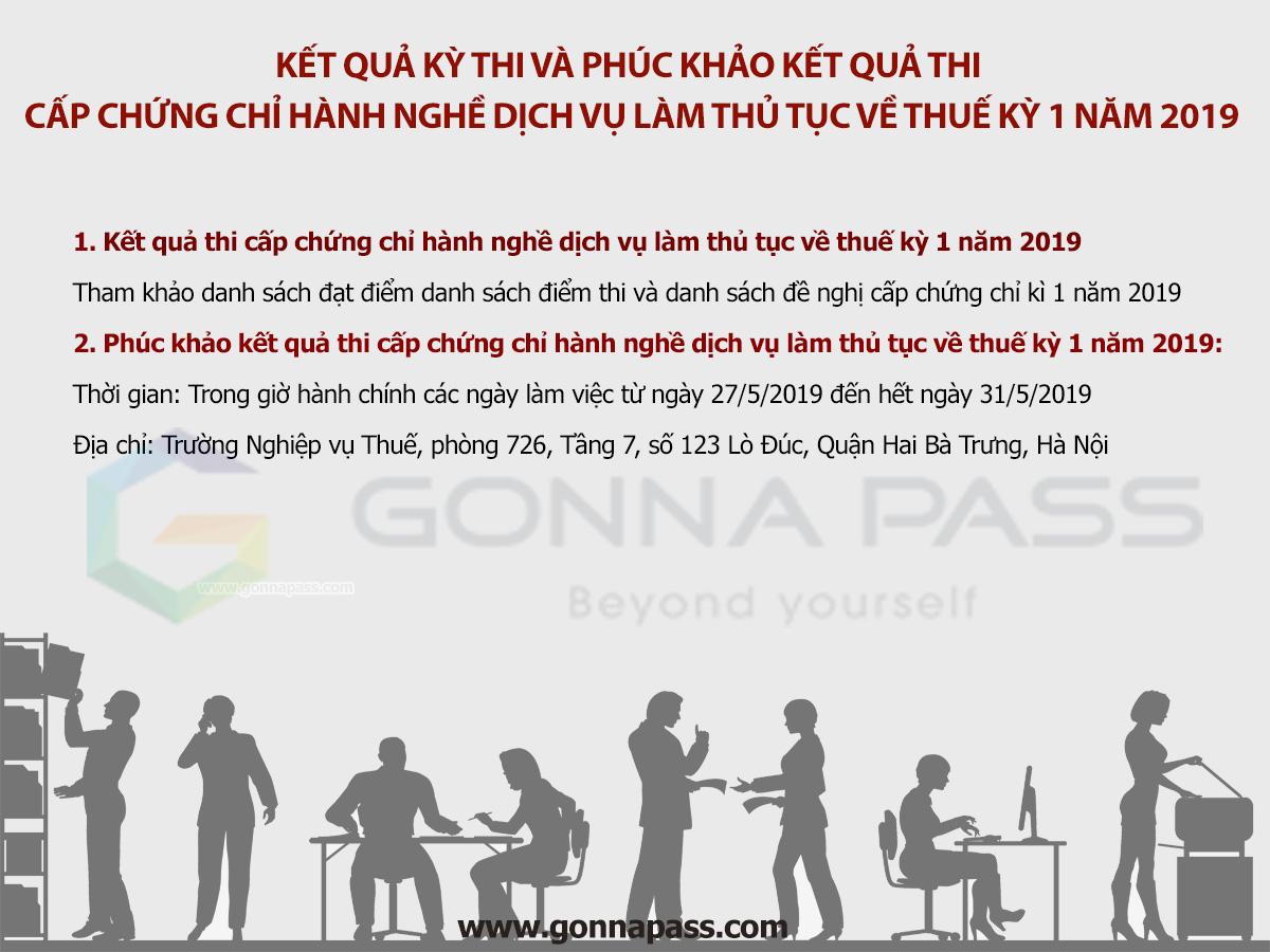 Kết quả kỳ thi và phúc khảo kết quả thi cấp chứng chỉ hành nghề dịch vụ làm thủ tục về thuế kỳ 1 năm 2019