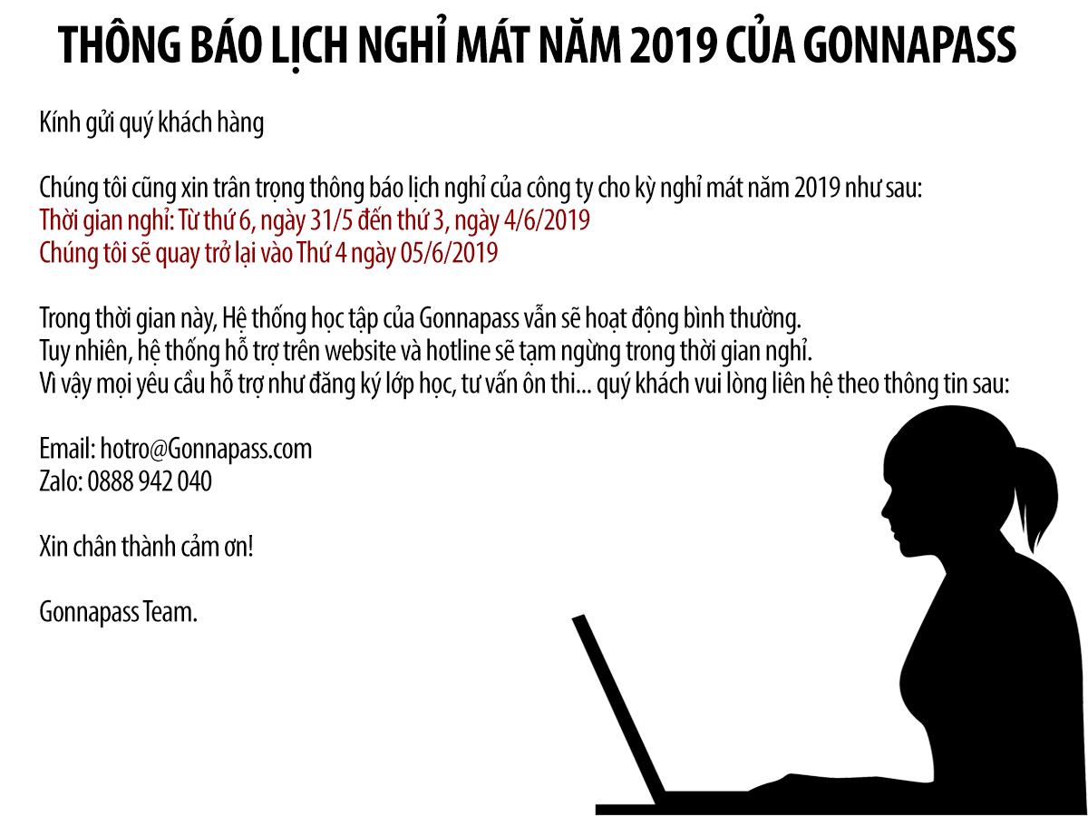 Thông báo lịch nghỉ mát năm 2019 của GONNAPASS