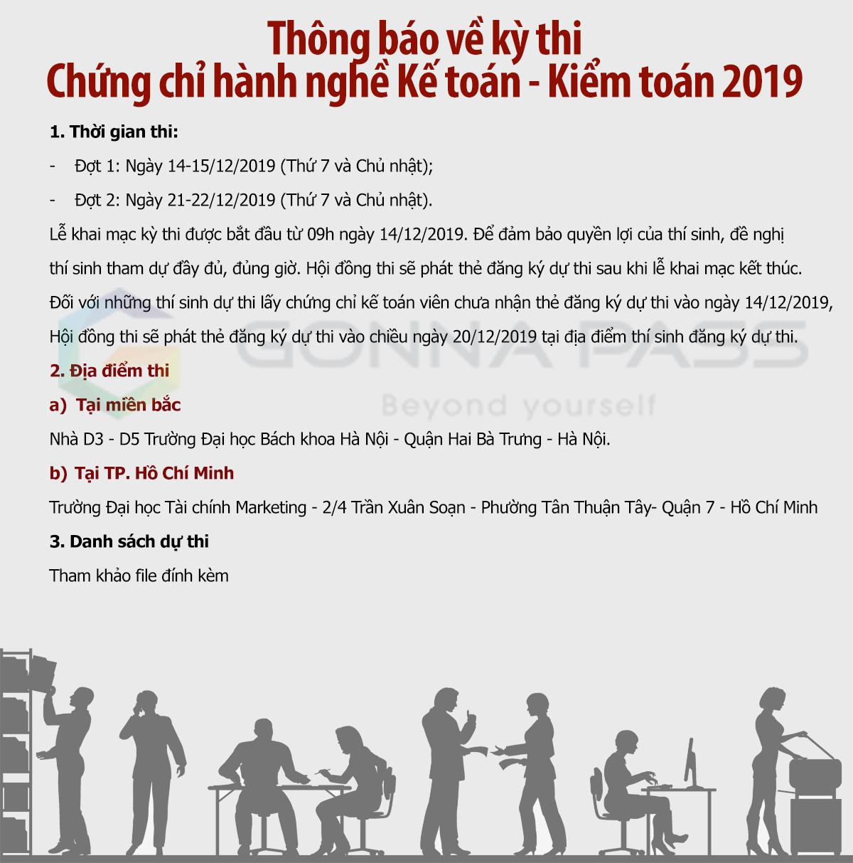 Lịch thi chính thức của kỳ thi chứng chỉ hành nghề Kế toán – Kiểm toán 2019
